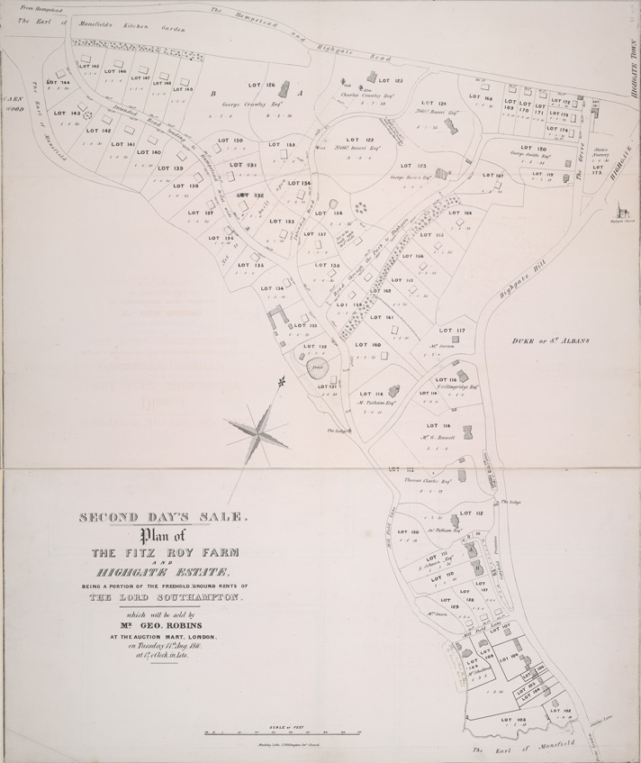 Plan of the Fitz Roy Farm and Highgate estate, being a portion of the freehold ground rents of the Lord Southampton